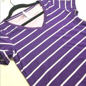 Lularoe Xxs Christy t purple stripes NWT
